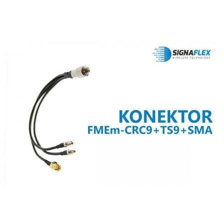 Konektor FMEm-CRC9+TS9+SMA (3w1)