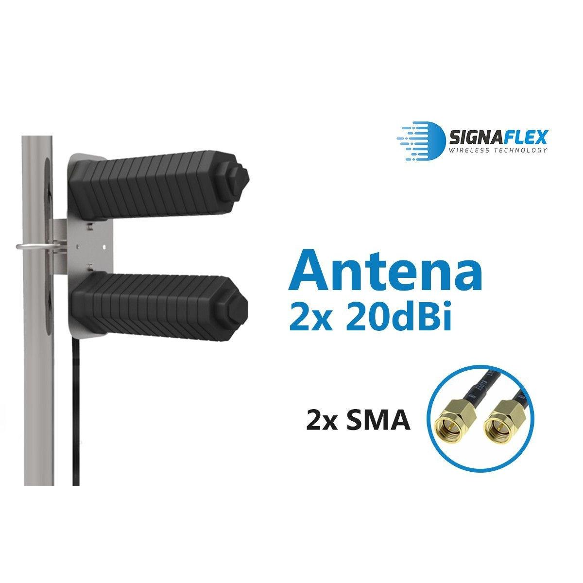 Komplet Antena DUAL THUNDER 20dbi z 10m FME + konektor SMA