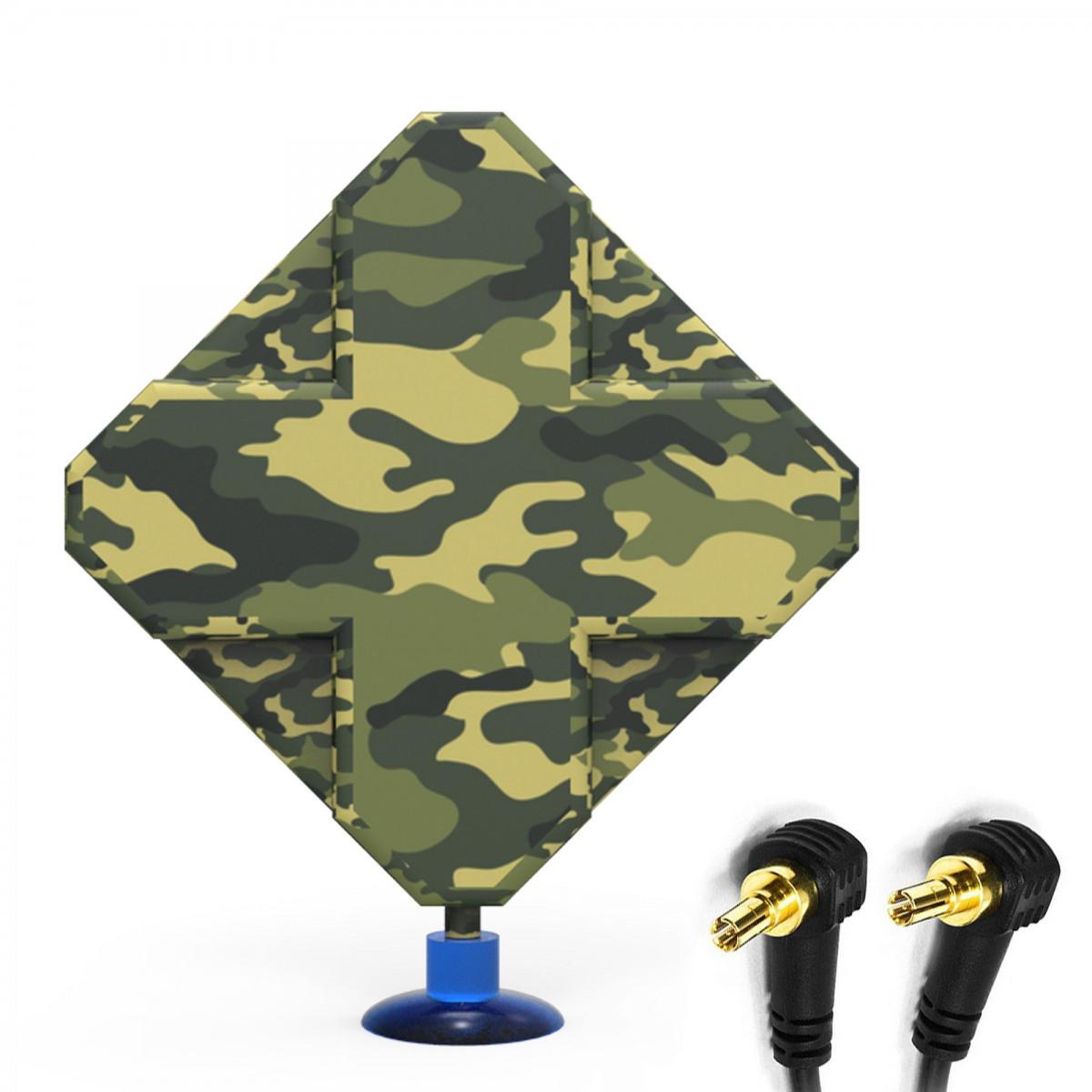 Antena 4G LTE DUAL X-CROSS MILITARY 44dbi 2x5m 2xcrc9