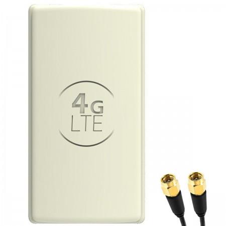 Antena 4G LTE DUAL PANEL 2x25dbi + 2x10m SZARA + 2x SMA