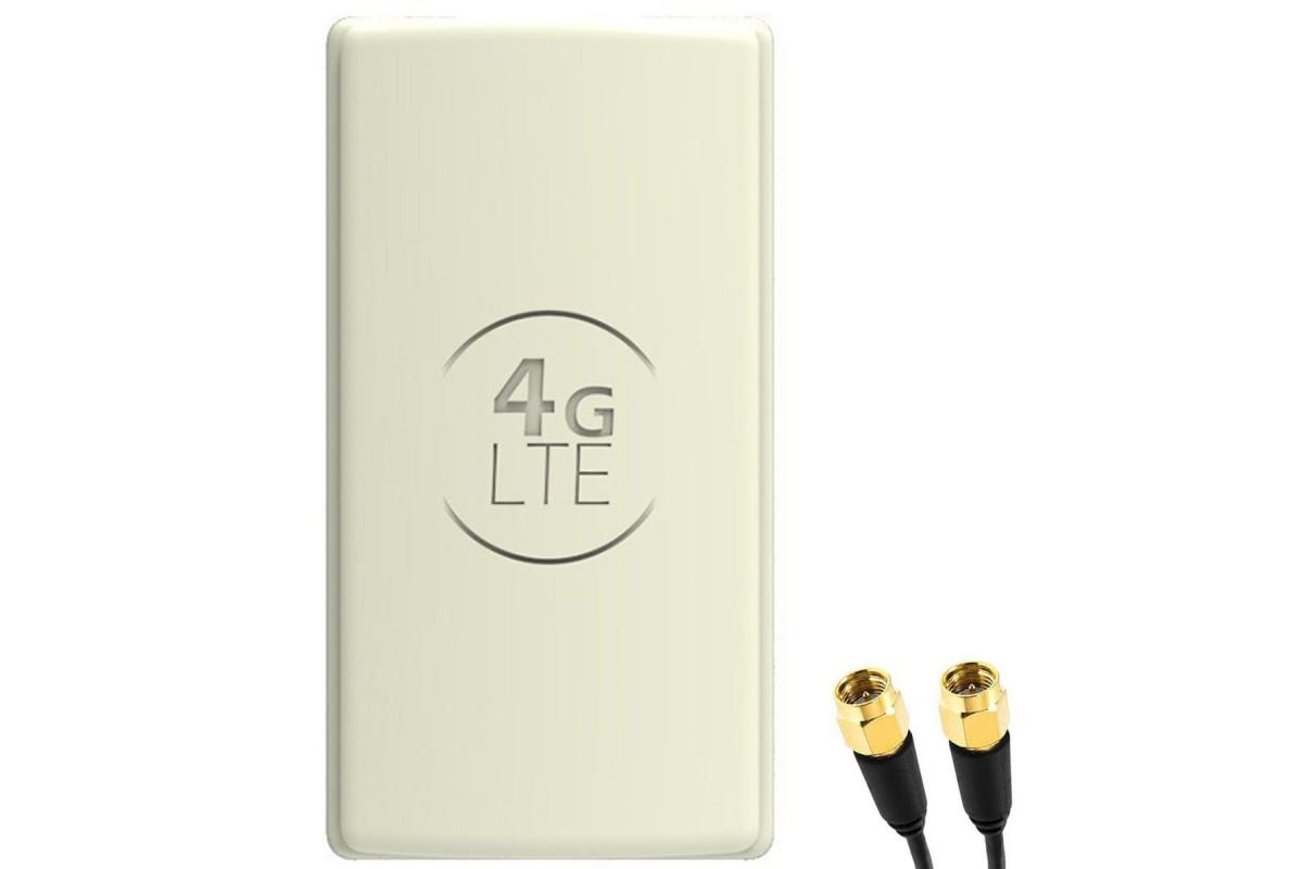 Antena 4G LTE DUAL PANEL 2x25dBi + 2x15m BIAŁA z FMEż baza