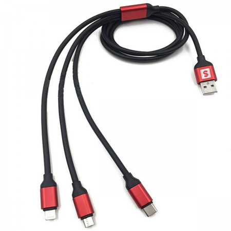 Kabel USB 3w1 Nylon 8-pin