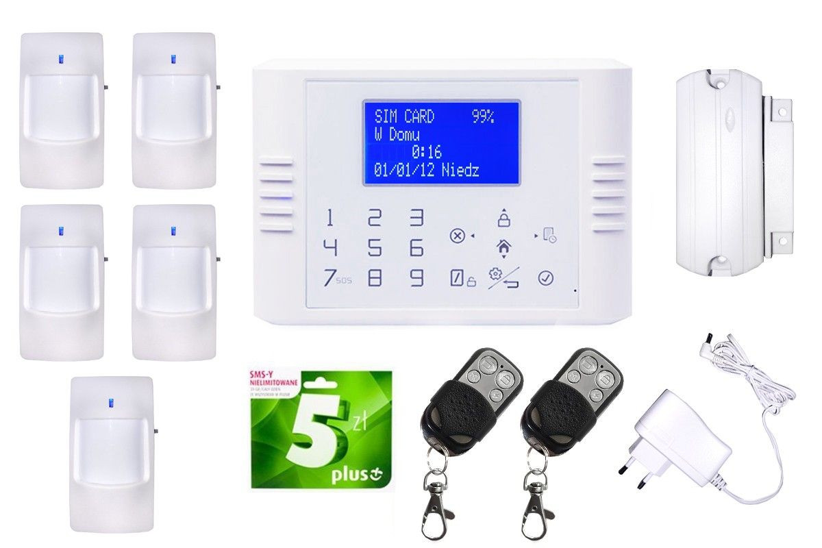 Alarm GSM Smart box +4x czujka PIR