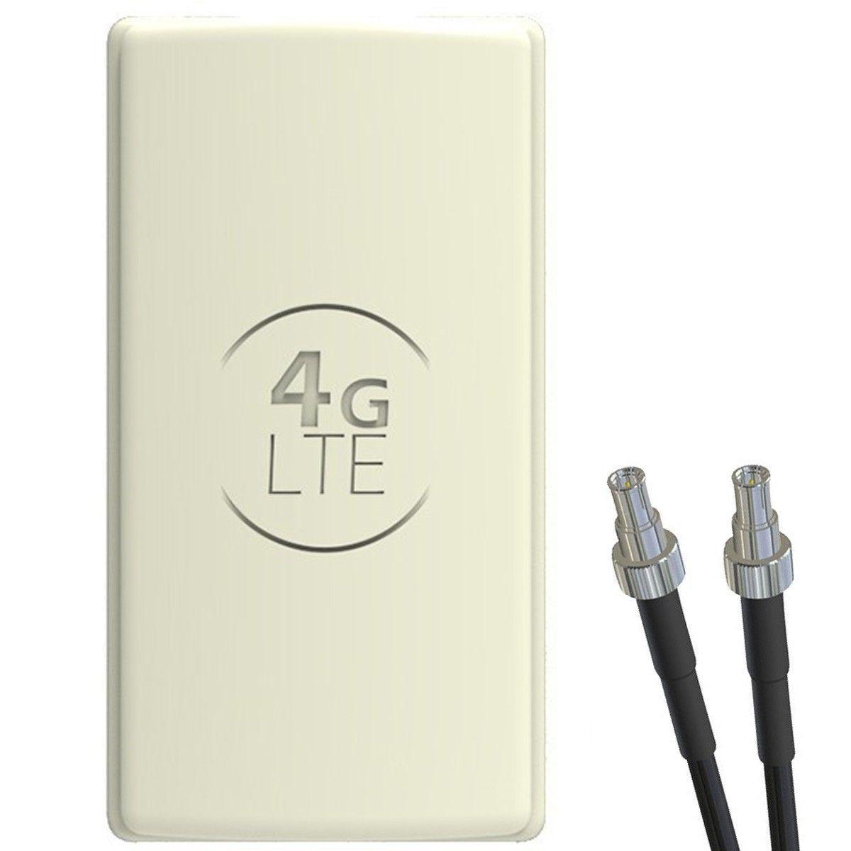 Antena 4G LTE DUAL PANEL 2x25dBi + 2x10m SZARA + 2x TS9 prosty