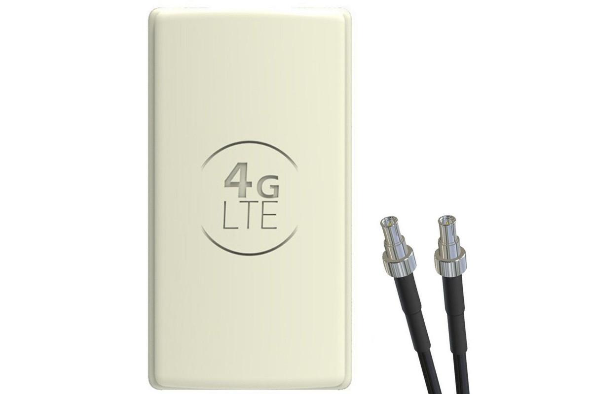 Antena 4G LTE DUAL PANEL 2x25dBi + 2x15m SZARA + 2x TS9 prosty