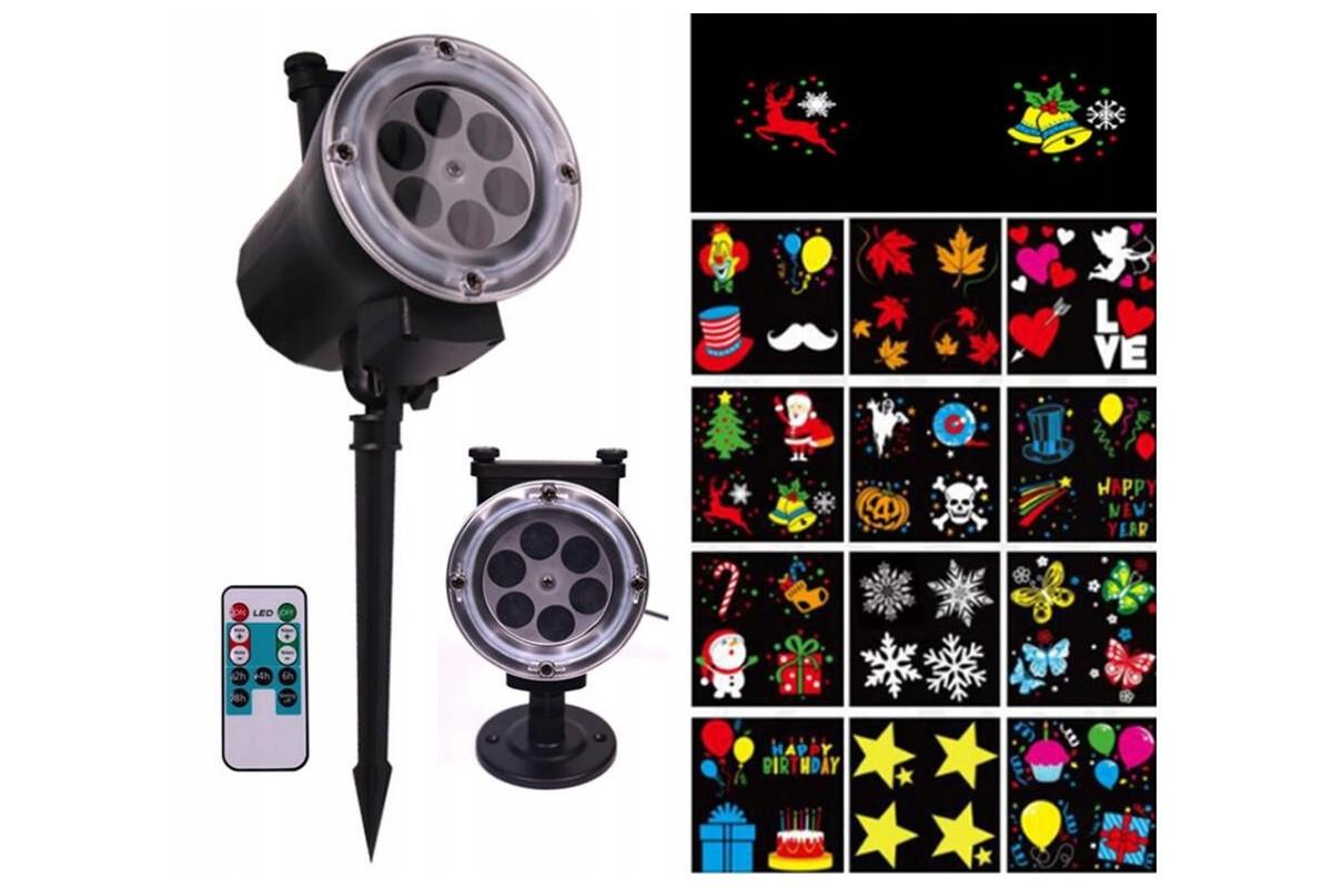 Całoroczny projektor laserowy + 12 WYMIENNYCH KARTRIDŻY / WZORÓW