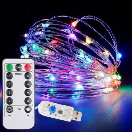 Dekoracyjny łańcuch świetlny LED 10m USB + pilot