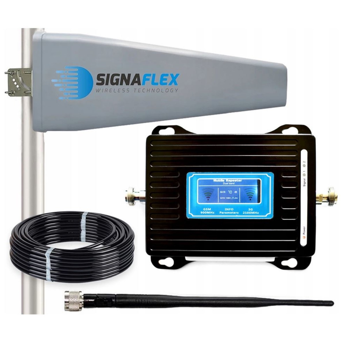 Wzmacniacz GSM/UMTS LCD3000 z wbudowaną anteną + Tajfun II + bat