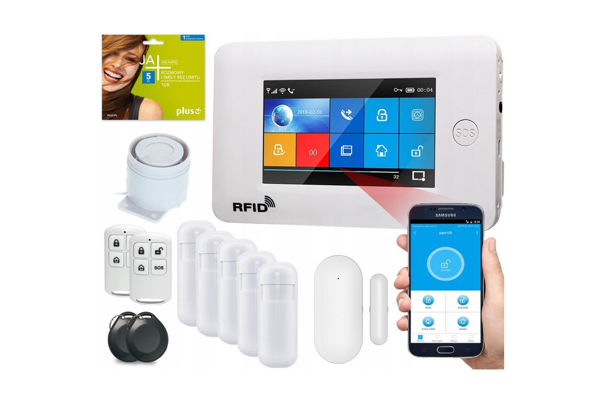 Alarm GSM Guardian IV box WiFi APP Czarny + 4 PIR