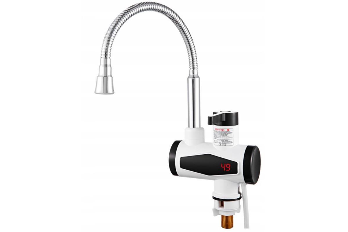 Elektryczny przepływowy umywalkowy podgrzewacz wody  3000W LCD z elastyczną wylewką