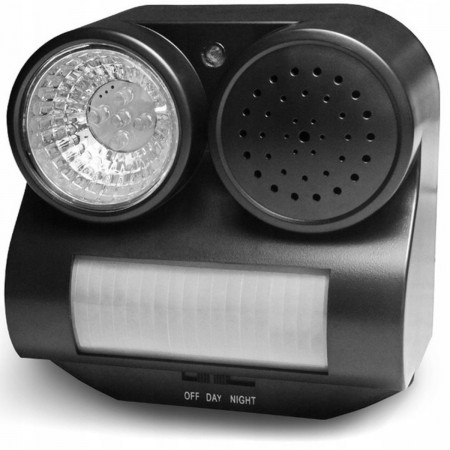 Odstraszacz ptaków i zwierząt z lampą LED i głośnikiem