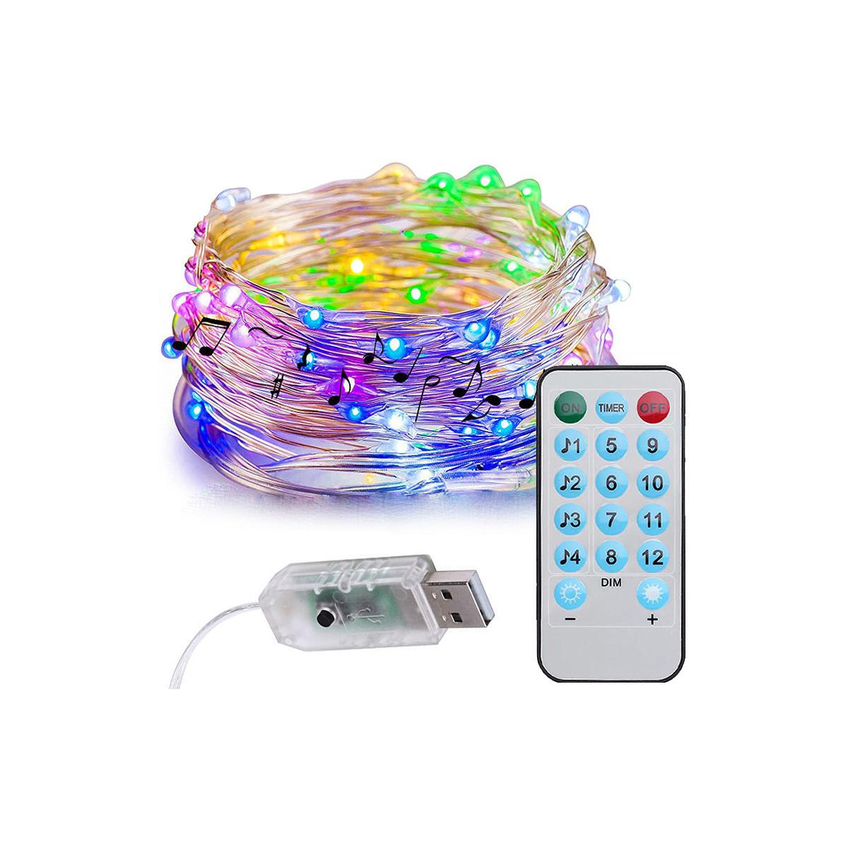 Lampki druciki 100LED RGB na baterie