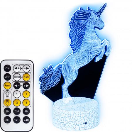 Lampka nocna 3D LED Unicorn z podświetlaną podstawką