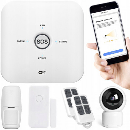 BEZPRZEWODOWY ALARM GSM + WIFI +KAMERA HD+CZUJNIKI