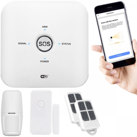 BEZPRZEWODOWY ALARM GSM + WIFI + CZUJNIKI