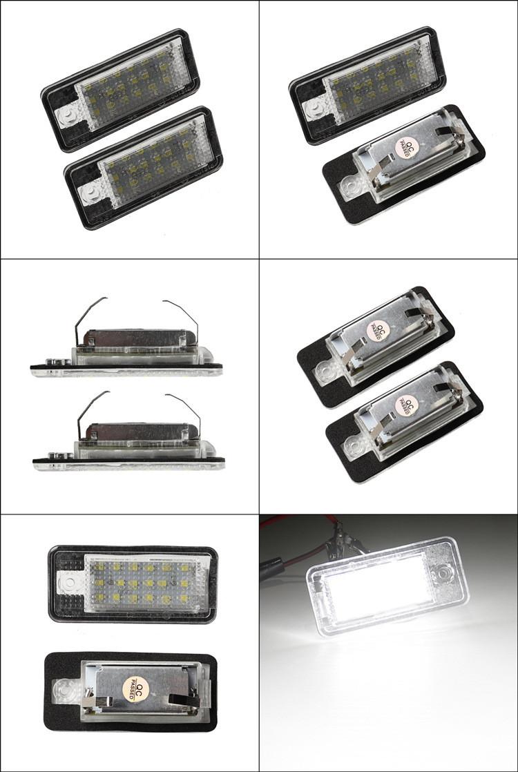 Zestawienie zdjęć lampek LED do Audi do tablicy rejestracyjnej
