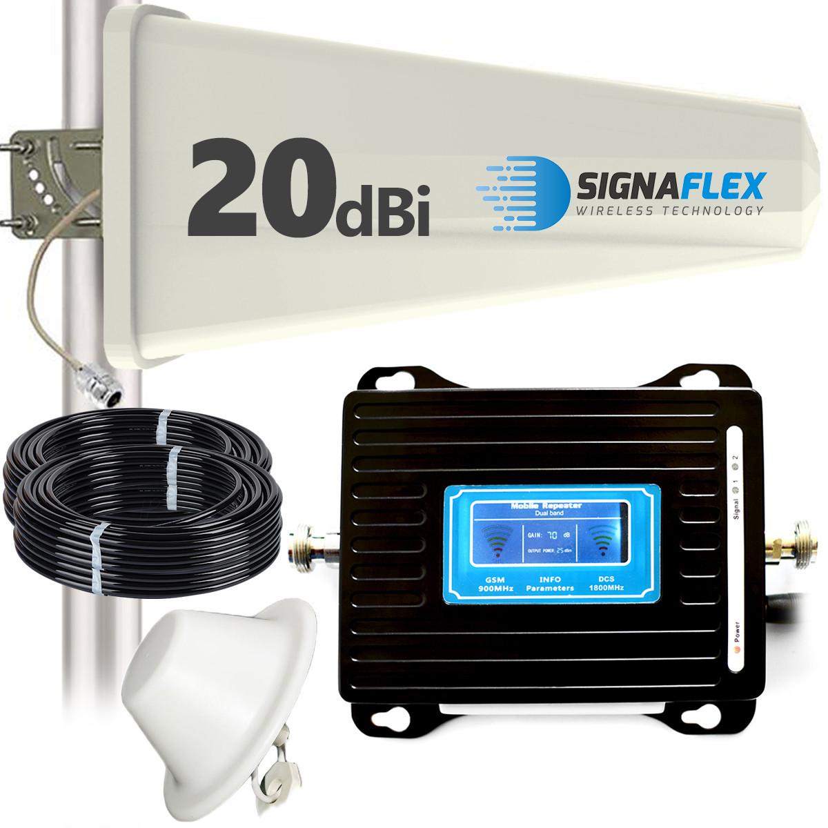 Wzmacniacz GSM/DCS LCD3000 z wbudowaną anteną + Tajfun + grzybek