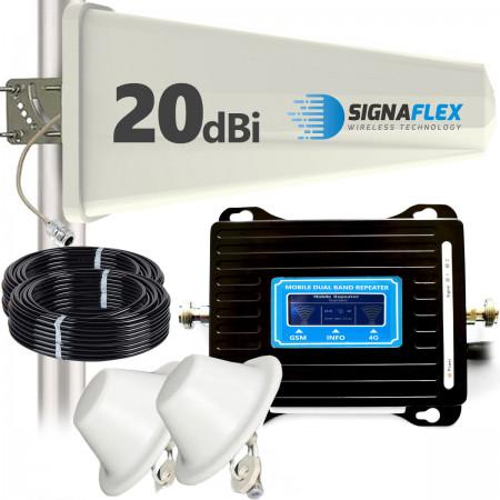 Wzmacniacz GSM/DCS LCD3000 z wbudowaną anteną + Tajfun + 2x grzybek