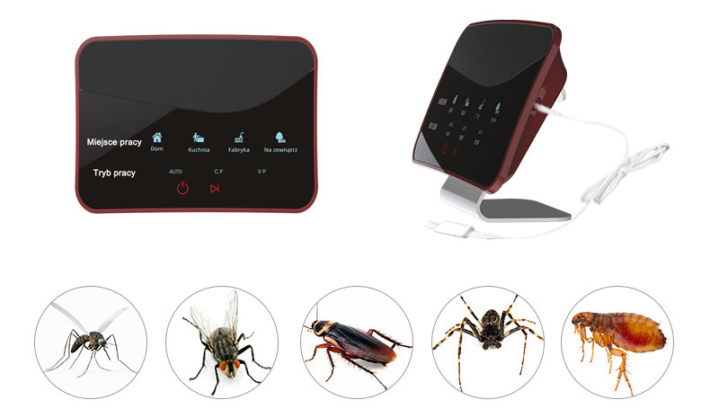 Odstraszacz myszy na białym tle i owady i gryzonie, na jakie działa