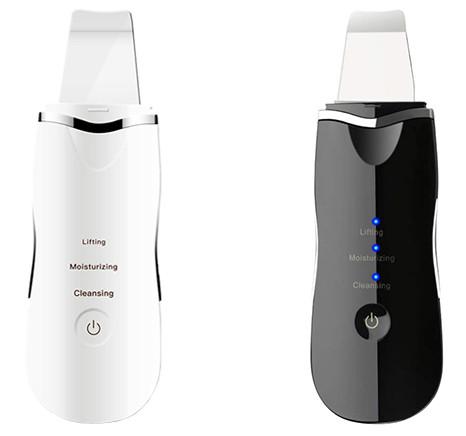 Urządzenie do peelingu kawitacyjnego skin scrubber czarny i biały