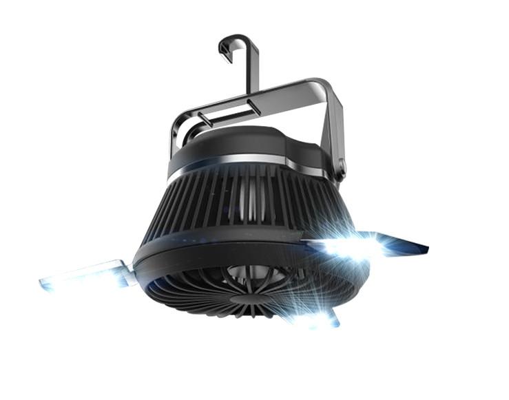 Lampa LED i wiatrak w jednym na białym tle