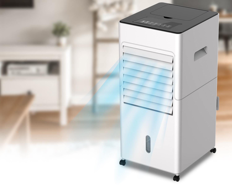 Klimator ewaporacyjny Freshly na tle mieszkania