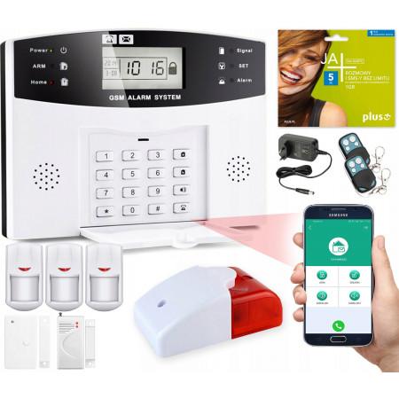 Alarm GSM LCD Guardian box + 2 PIR + 1 okno/drzwi