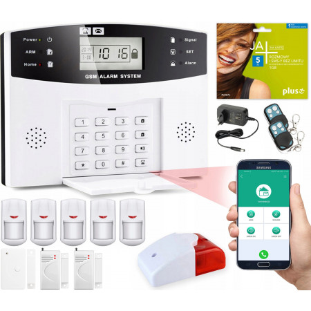 Alarm GSM LCD Guardian box + 4 PIR + 2 okno/drzwi