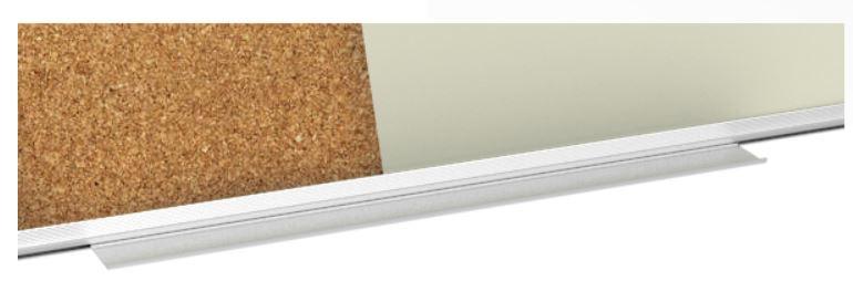 Zbliżenie na półkę aluminiową w tablicy magnetyczno-korkowej