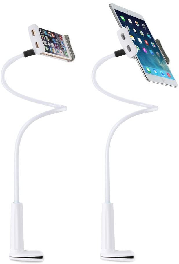 Uchwyt z zamontowanym telefonem i tabletem