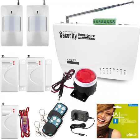 Alarm GSM Red box + 1 PIR + 1 okno/drzwi + 1 antypowodziowa