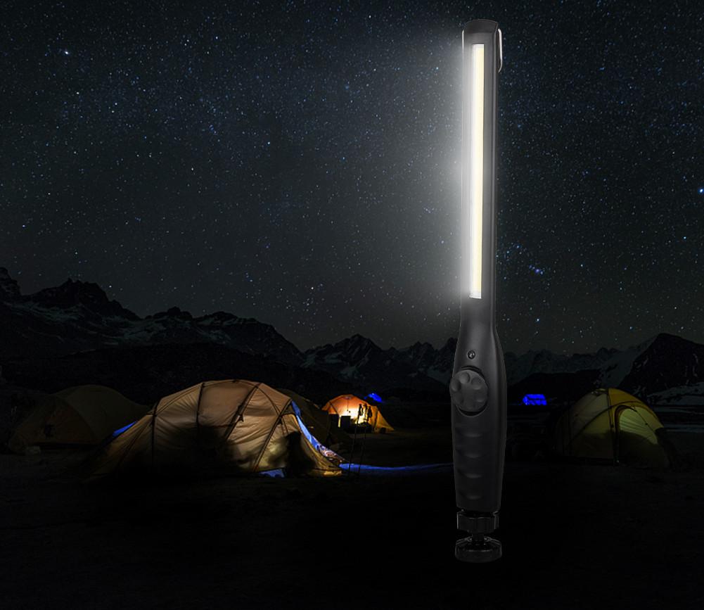 Lampa warsztatowa LED COB na tle namiotu