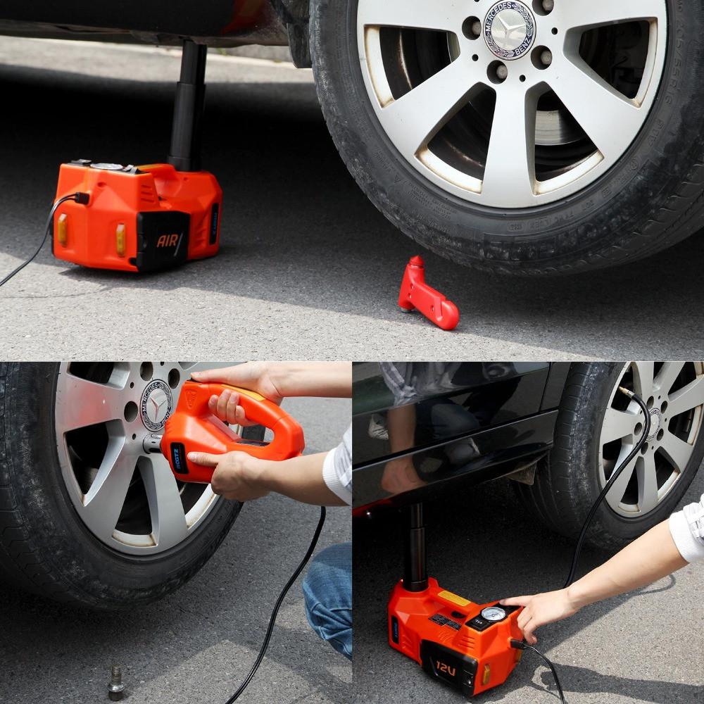 Podnośnik samochodowy lewarek i klucz automatyczny używane podczas wymiany koła