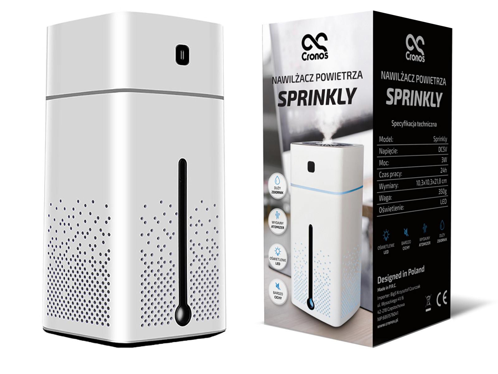 Biały nawilżacz powietrza Sprinkly i oryginalne opakowanie