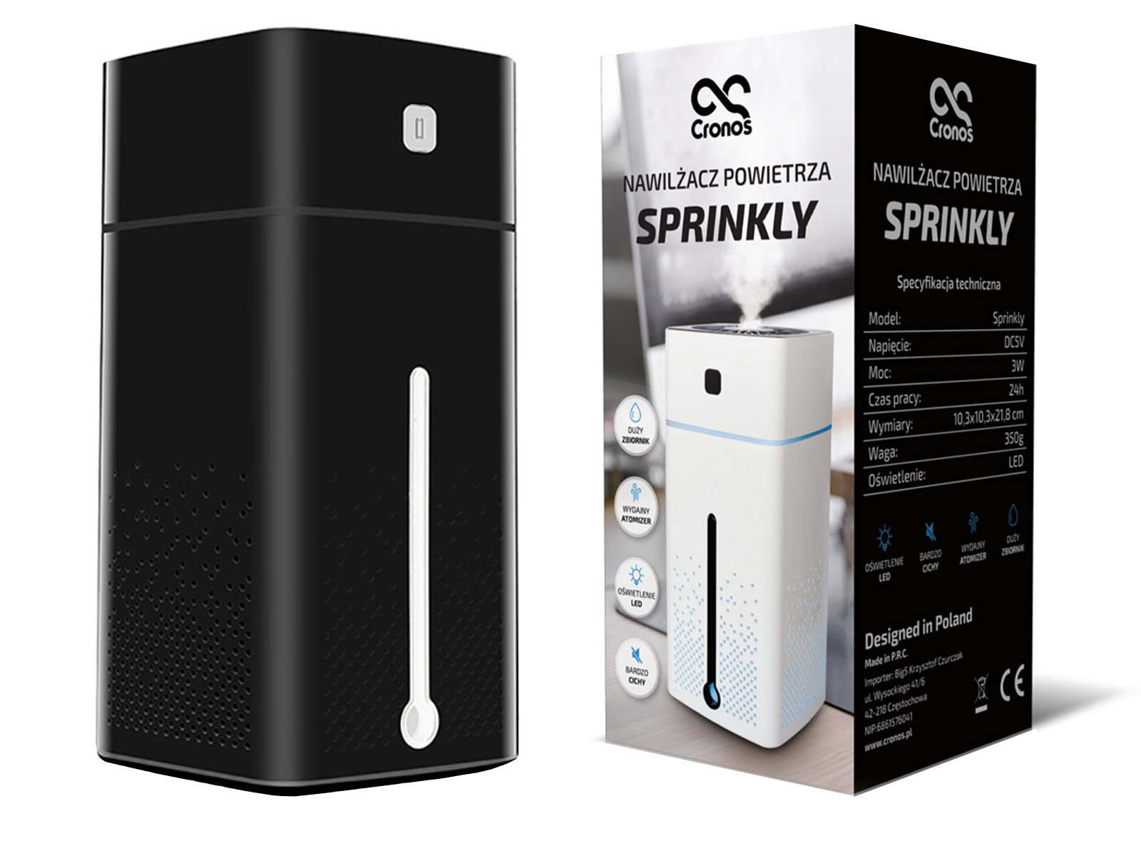 Czarny nawilżacz powietrza Sprinkly i oryginalne opakowanie