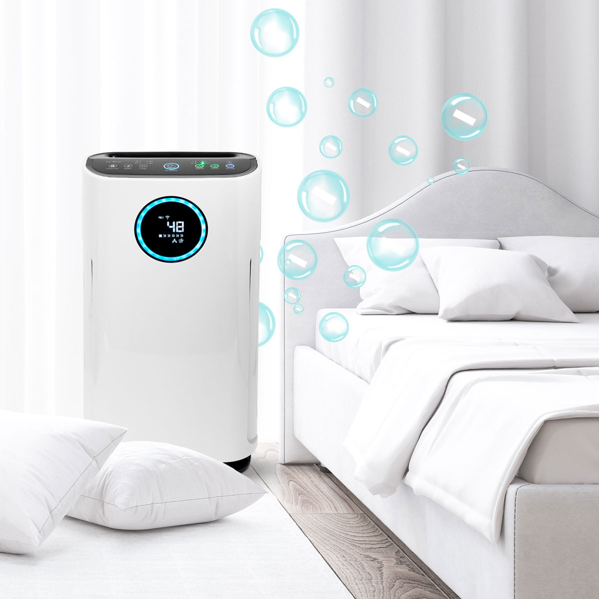 Oczyszczacz powietrza Cronos Cleo w sypialni przy łóżku