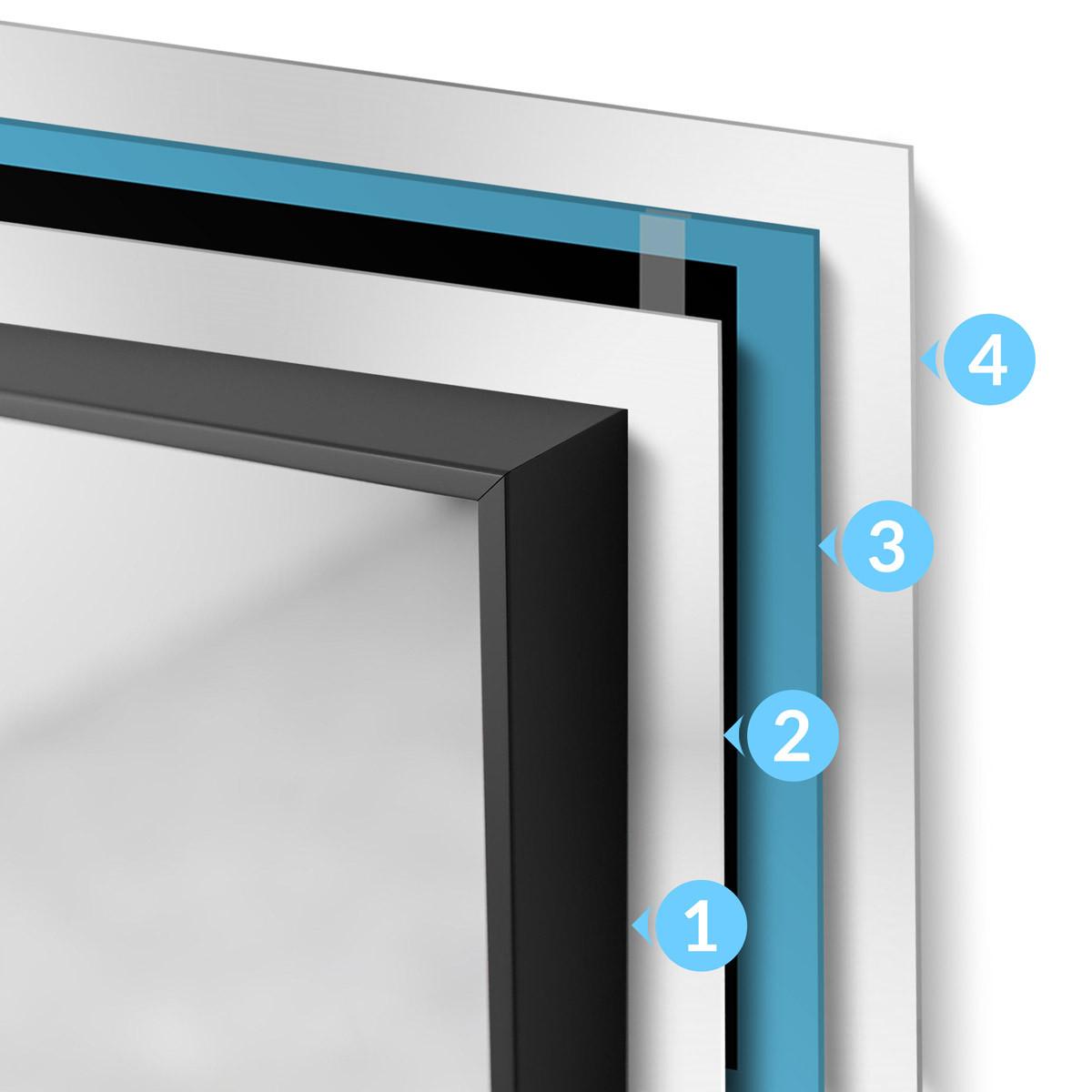 Warstwy układania grafenowej folii grzewczej na podczerwień pod lustrem