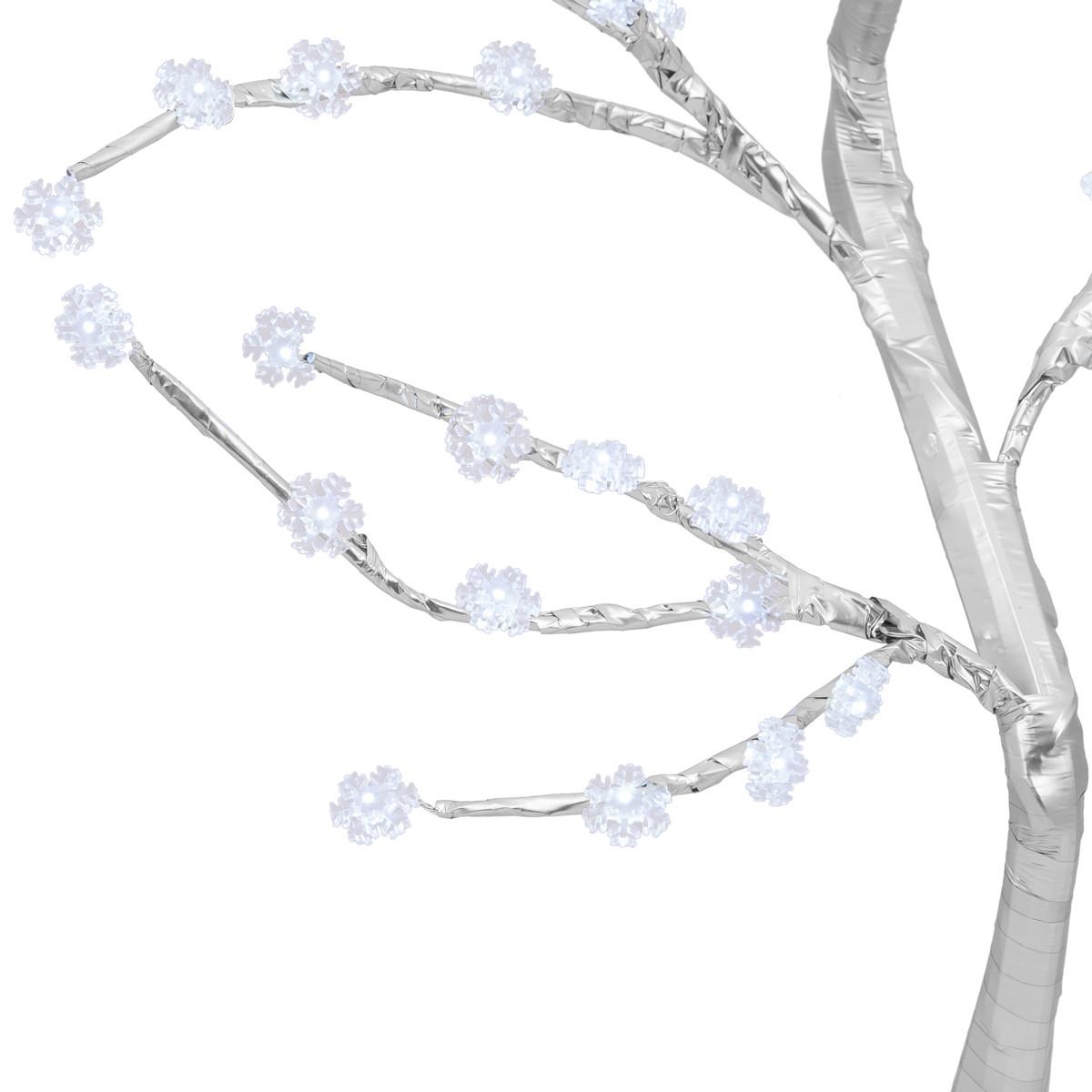 Zbliżenie na śnieżynki na drzewku LED świątecznym