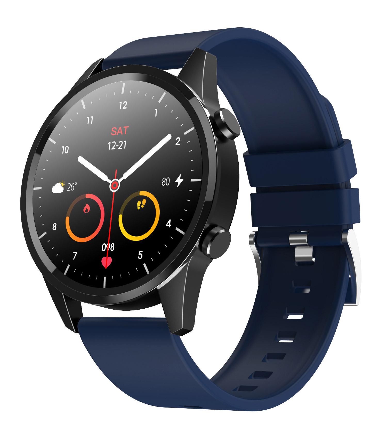 Smartwatch z niebieską opaską