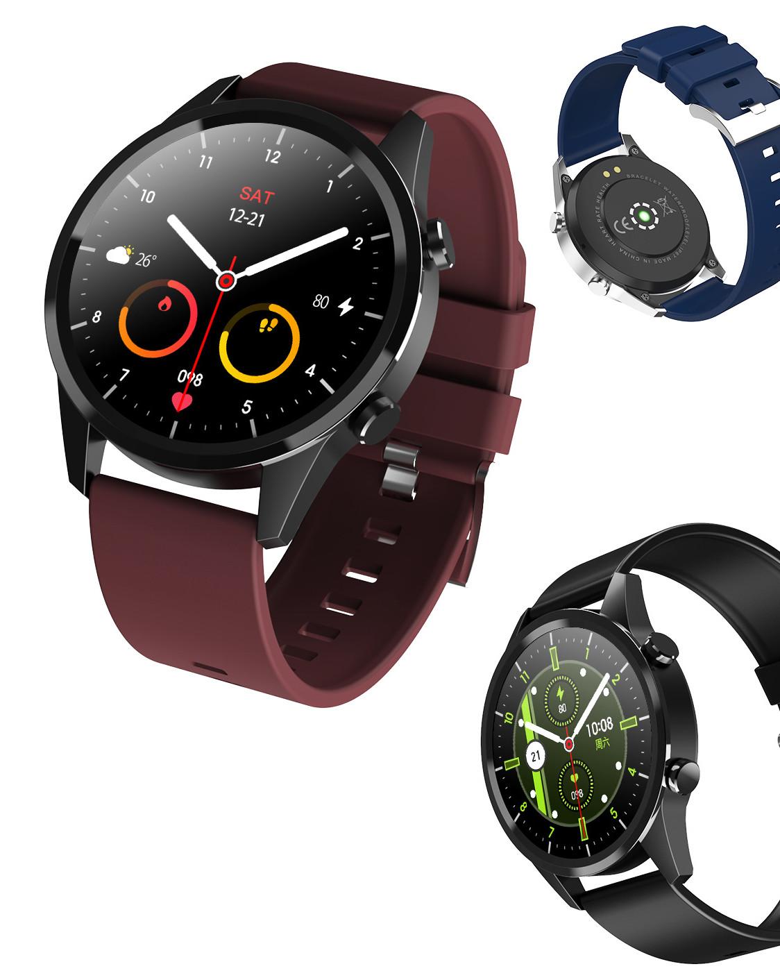Smartwatch z czarną, bordową i niebieską opaską