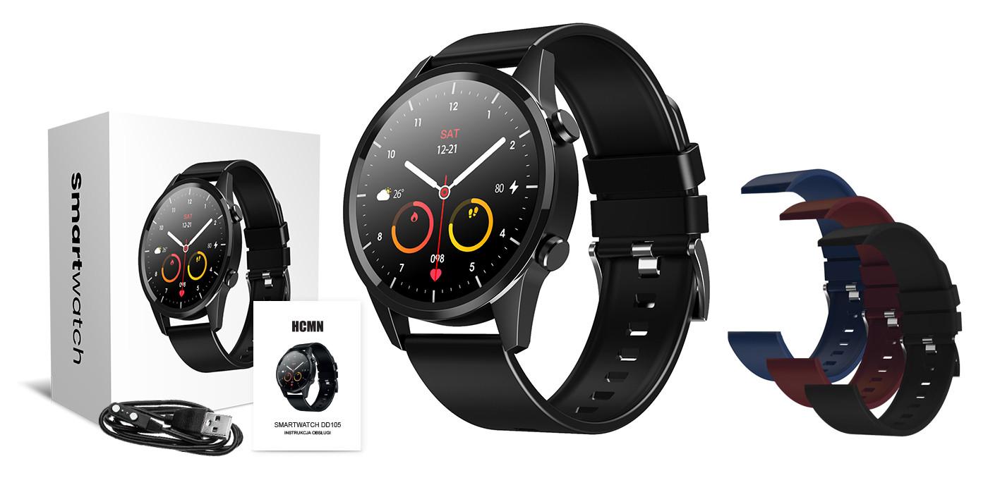 Smartwatch, opakowanie, kabel i kolorowe opaski