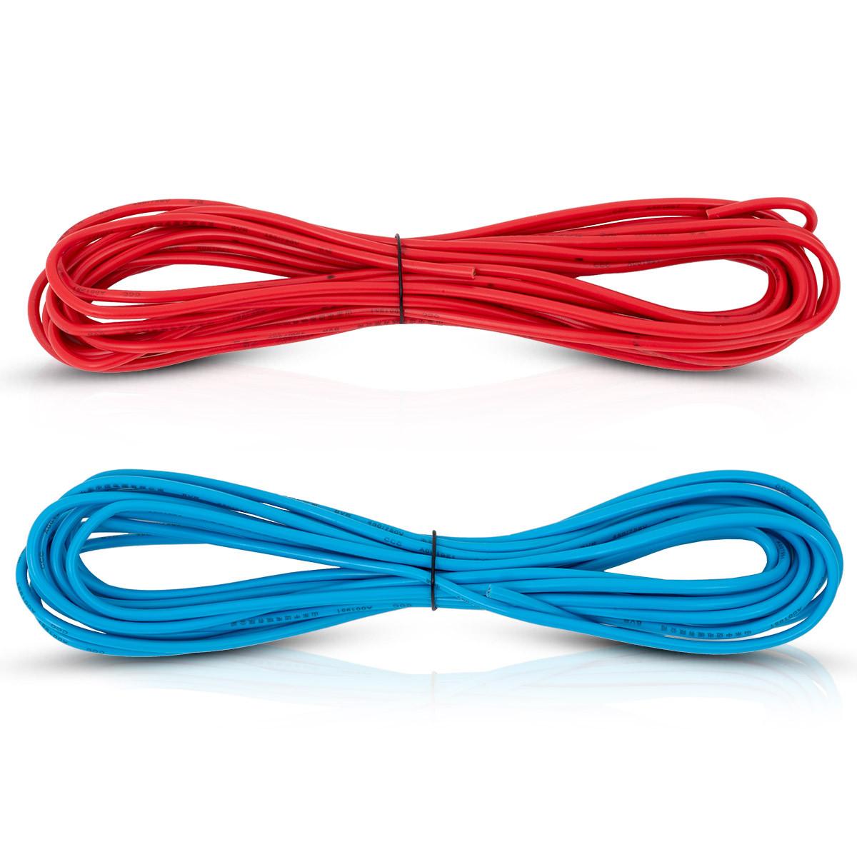 Przewody elektryczne czerwony i niebieski