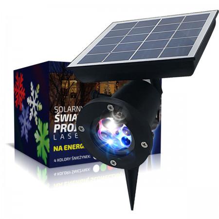 SOLARNY PROJEKTOR LASEROWY LED IP65 RGB ŚNIEŻYNKI
