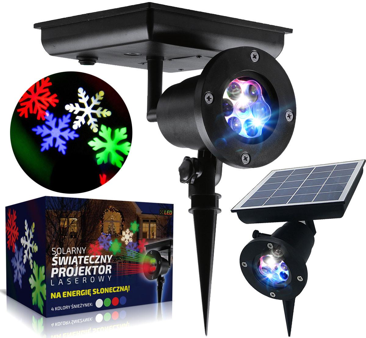 Projektor laserowy świąteczny od boku i od góry