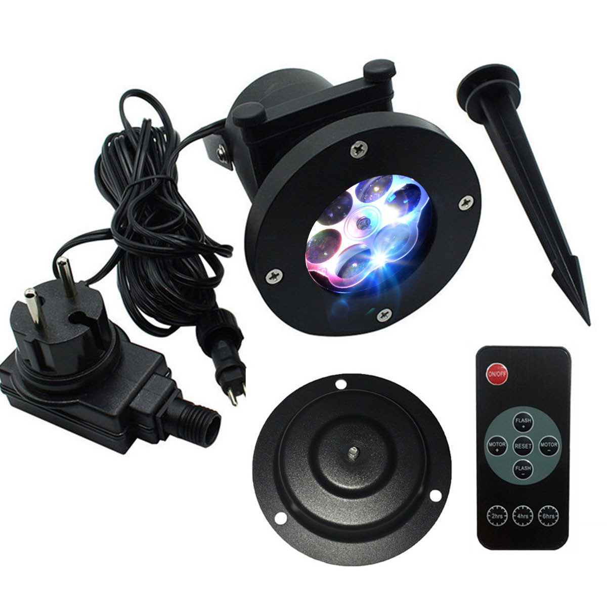 Projektor laserowy, karty z wzorami, podstawka, nóżka, kabel