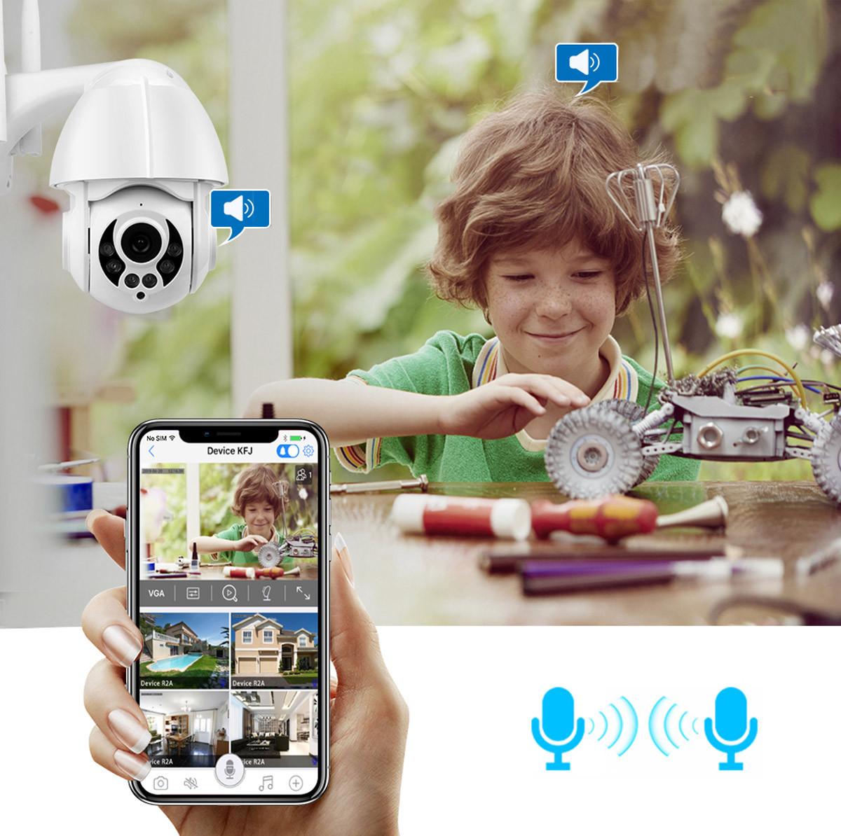 Kamera IP na tle bawiącego się dziecka