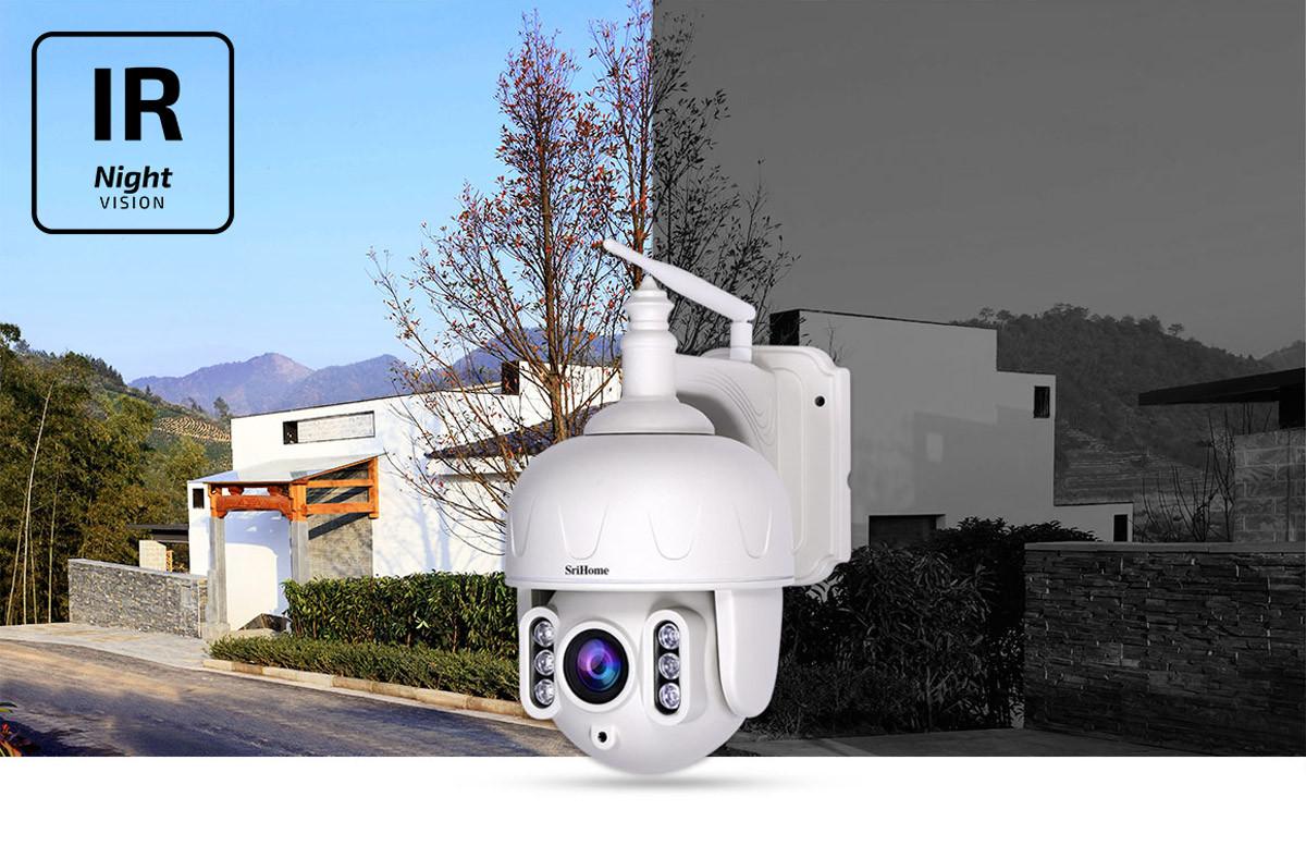 Kamera IP SH028 na tle dnia i nocy