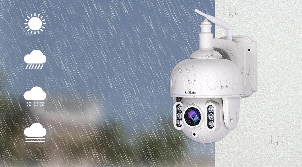 Kamera IP SH028 na tle deszczu