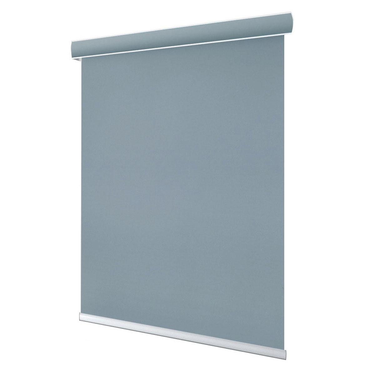 Roleta okienna szara rozciągnięta na białym tle