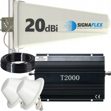 Komplet: wzmacniacz GSM T2000 + Tajfun z 2x grzybek